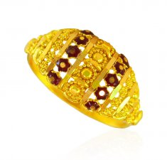22k Gold Enamel Ring ( Ladies Gold Ring )