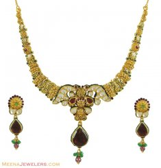 22k Designer Kundan Necklace Set ( Antique Necklace Sets )