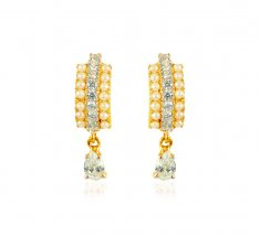 22kt Gold Pearl and CZ Earrings ( Clip On Earrings )