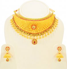 22KT Gold Bridal Necklace Set ( Bridal Necklace Sets )