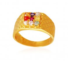 Mens Navratna 22K Gold Ring ( Mens Gold Ring )