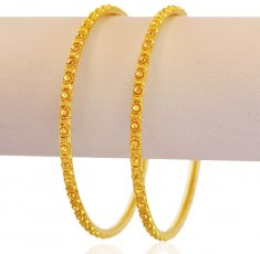 22K Gold Filigree Bangles 2PCs ( Gold Bangles )