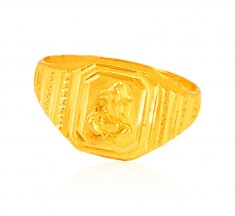 22K solid Gold Ganesha Mens Ring ( Religious Rings )