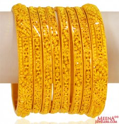 22K Gold Bangles Set of 8 ( Set of Bangles )