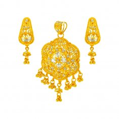 22 karat Gold Two Tone Pendant Set ( Gold Pendant Sets )