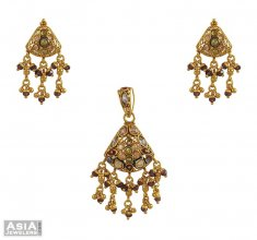 22k Indian Antique Pendant Set