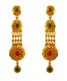 22KT Gold Filigree Earrings ( Long Earrings )