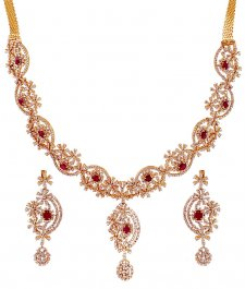 Ruby Diamond 18K Necklace Set ( Diamond Necklace Sets )