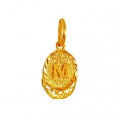 22 KT Gold Pendant with Intial M ( Initial Pendants )