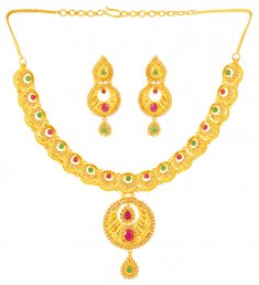 22Kt Gold Necklace Earring Set ( Precious Stone Sets )
