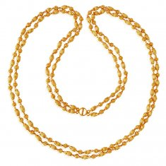 22Kt Gold Layered Tulsi Mala ( 22Kt Long Chains (Ladies) )
