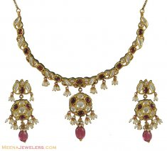 22K Kundan Antique Set ( Antique Necklace Sets )