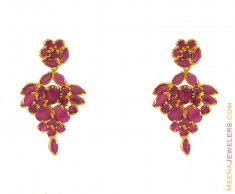 Ruby Earring in 22k Gold  ( Precious Stone Earrings )