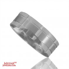 18K White Gold Mens Band