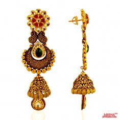 22KT Gold Antique Earrings ( 22Kt Gold Fancy Earrings )