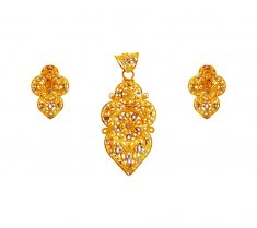 Two Tone Gold Pendant Set ( Gold Pendant Sets )