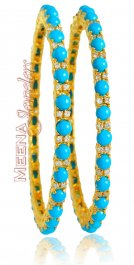 22Kt Bangle With Turquoise (2PC) ( Precious Stone Bangles )