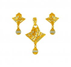 22Karat Gold Two Tone Pendant Set ( Gold Pendant Sets )
