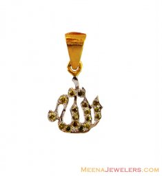 22K Fancy Small Rhodium CZ Pendant