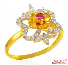 22K Gold Floral Ring for ladies