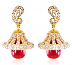 18k Gold  Diamond Ruby Earrings ( Diamond Earrings )