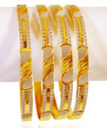 22k Gold TwoTone Bangles Set(4 pcs) ( Two Tone Bangles )