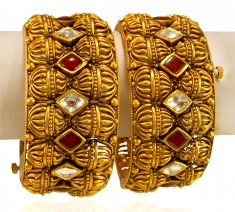 22kt Gold Designer Kada (2Pc) ( Antique Bangles )