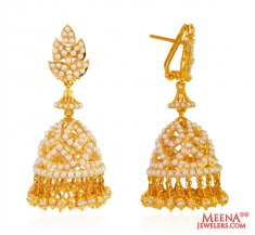 22 Karat Gold Pearl Jhumki Earrings ( Exquisite Earrings )