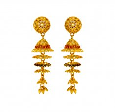 22K Gold Tri Color Jhumkas ( Long Earrings )