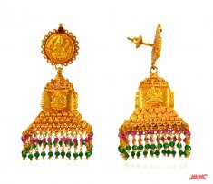 22 Kt Temple Jhumki Earrings ( Exquisite Earrings )