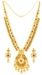 22K Gold Temple Necklace Set 2 in 1 ( Gold Designer Sets )