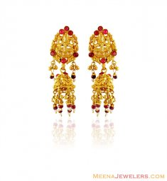 22K Gold Temple Earrings ( 22Kt Gold Fancy Earrings )