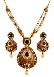 22K Gold Antique Short Necklace  ( Antique Necklace Sets )