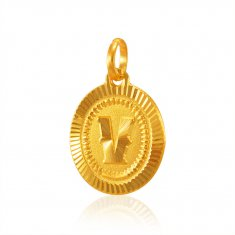 22Kt Gold (v) Pendant with Initial ( Initial Pendants )