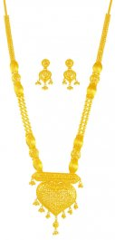 22 K Gold Long Necklace Earring Set