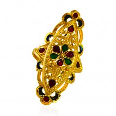 22Kt Gold Ladies Meenakari Ring  ( Ladies Gold Ring )