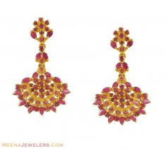 Precious Ruby Earrings (22K Gold) ( Precious Stone Earrings )