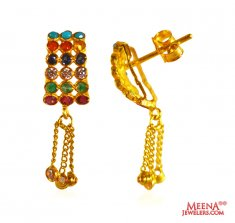 Designer Navratan Earrings 22k Gold