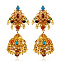 22kt Gold Jumki Earrings ( Precious Stone Earrings )