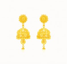 22kt Gold Floral Jhumkhi Earring ( Long Earrings )