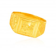 22Kt Gold Mens OM Ring ( Religious Rings )