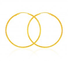 22 Kt Gold Plain Hoop Earrings ( Hoop Earrings )