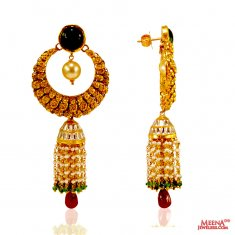 22 Kt Gold Chandbali Earrings ( 22Kt Gold Fancy Earrings )