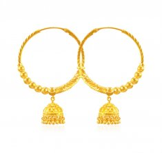 22kt Gold Designer Bali ( Hoop Earrings )