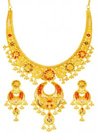 22K Gold Tricolor Necklace Set ( 22 Kt Gold Sets )