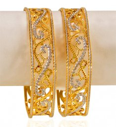 22k Gold Fancy Kadas (2pc) ( Two Tone Bangles )