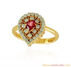 18K Ladies Diamond Tourmaline Ring ( Diamond Rings )