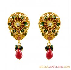 22K Designer Meena Earrings ( 22 Kt Gold Tops )