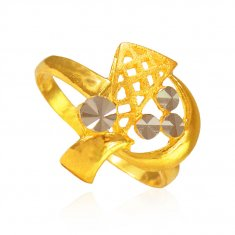22K Two Tone ladies Ring ( Ladies Gold Ring )