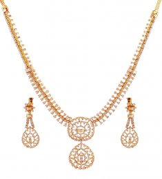 18K Yellow Gold Necklace Set ( Diamond Necklace Sets )